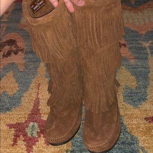 Minnetonka Shoes - Brown Minnetonka Three Tier Fringe Boots